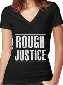 Rough Justice Standard Black Tee Women's Fitted V-Neck T-Shirt