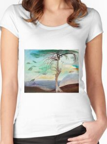 Lonely Cedar Tree Landscape Painting Women's Fitted Scoop T-Shirt