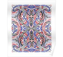Hand Drawn Abstract Red White Blue Line Art Doodle Poster