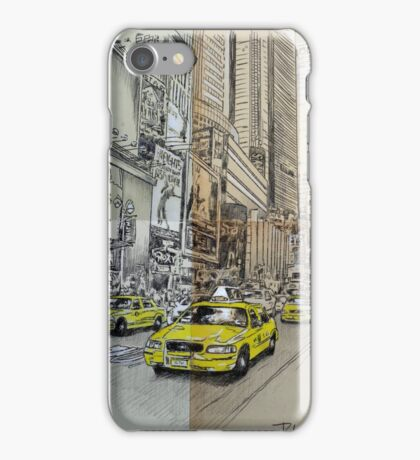 NY study with cabs iPhone Case/Skin