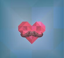 Abstract Hipster Moustache Heart  Head on Blue Geometric Background by amovitania