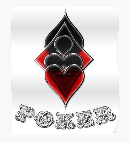 Poker Spades Hearts Diamonds Club Shiny Bling Overlap Poster