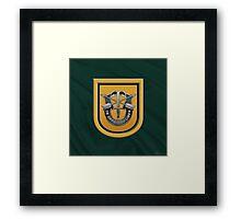 U.S. Army 1st Special Forces Group - 1 SFG Beret Flash over Green Beret Felt Framed Print