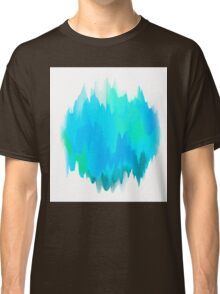 Abstract Painted Blue and Green Form on White Background Classic T-Shirt