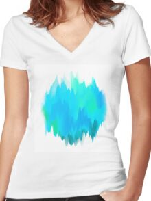 Abstract Painted Blue and Green Form on White Background Women's Fitted V-Neck T-Shirt