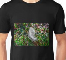 White goose feather on grass Unisex T-Shirt