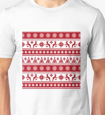 Christmas Holiday Nordic Pattern Cozy Unisex T-Shirt