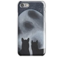 Cats Gazing at the Full Moon  iPhone Case/Skin