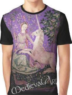 Medieval Art - Lady and the Unicorn in Purple Graphic T-Shirt