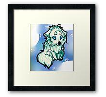 Chibi wolf - Blue Framed Print