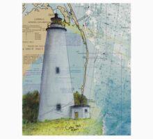 Ocracoke Lighthouse NC Map Chart Peek Outer Banks Kids Tee