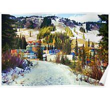 """""""Mountain Haven"""" Ski Village Poster"""