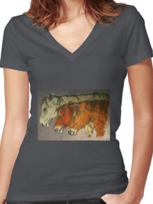 """Study Of Contentment"" Women's Fitted V-Neck T-Shirt"