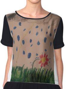 daisy in the rain oil pastel Chiffon Top
