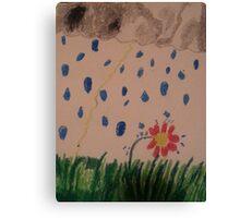 daisy in the rain oil pastel Canvas Print