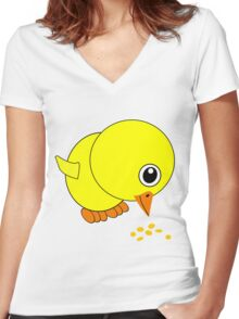 Funny Chick Eating Bird Seed Cartoon Women's Fitted V-Neck T-Shirt