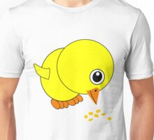 Funny Chick Eating Bird Seed Cartoon Unisex T-Shirt