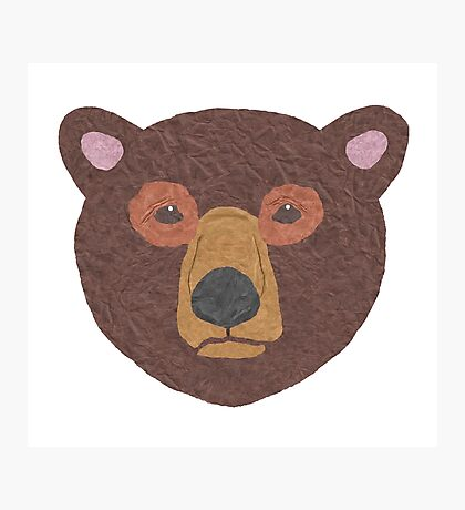 Brown Paper Bear Photographic Print