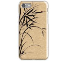 """Serene""  Sumi-e ladybug & bamboo ink brush painting iPhone Case/Skin"