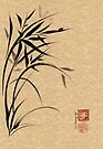 """Serene""  Sumi-e ladybug & bamboo ink brush painting by Rebecca Rees"
