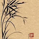 """Serene""  Sumi-e ladybug & bamboo ink brush painting by Rebecca Rees"