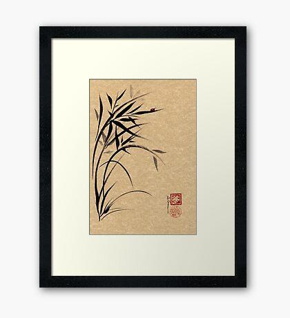 """""""Serene""""  Sumi-e ladybug & bamboo ink brush painting Framed Print"""