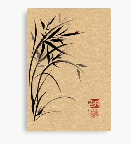 """Serene""  Sumi-e ladybug & bamboo ink brush painting Canvas Print"