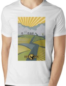 Retro Vlaanderen cycling poster Mens V-Neck T-Shirt