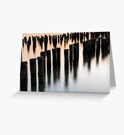 Abandoned dock pylons at Brooklyn Bridge Park Greeting Card