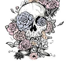 Skull and Flowers Vector Illustration Day of The Dead by La-Vika