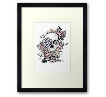 Skull and Flowers Vector Illustration Day of The Dead Framed Print