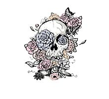 Skull and Flowers Vector Illustration Day of The Dead Photographic Print
