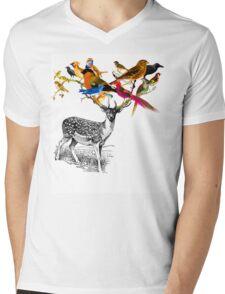 DEER BIRDY Mens V-Neck T-Shirt