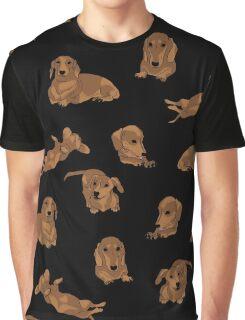 Short Haired Dachshund Pattern Graphic T-Shirt