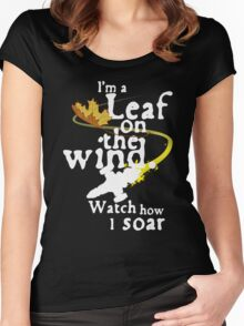 Leaf on the wind (white text) Women's Fitted Scoop T-Shirt