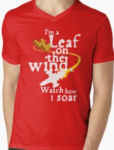 Leaf on the wind (white text) Mens V-Neck T-Shirt