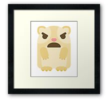 Emoji Guinea Pig with Angry and Mean Face Framed Print