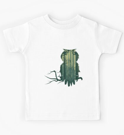 Owl and Abstract Forest Landscape Kids Tee