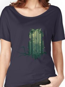 Owl and Abstract Forest Landscape Women's Relaxed Fit T-Shirt