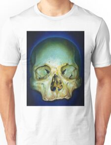 yellow blue realistic skull Unisex T-Shirt