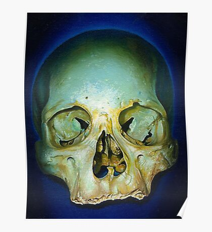 yellow blue realistic skull Poster