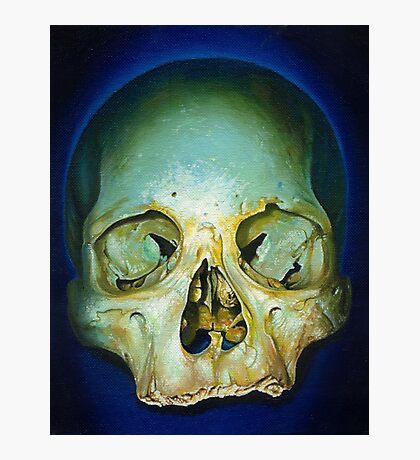 yellow blue realistic skull Photographic Print