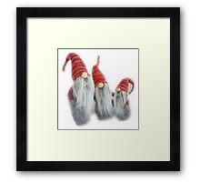 Cute Christmas elves getting ready for Christmas! Framed Print