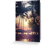 Tropical beach view. Palm trees and sunset sky. Greeting Card