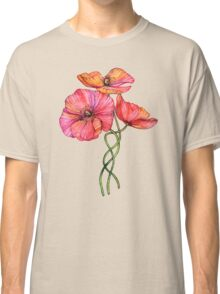 Peach & Pink Poppy Tangle Classic T-Shirt