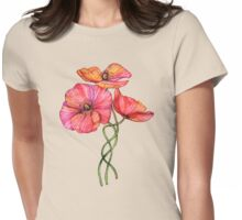 Peach & Pink Poppy Tangle Womens Fitted T-Shirt