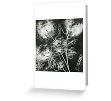 Monoprint Flowers in Black and White Greeting Card