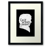 The East Wind Is Coming (White) Framed Print