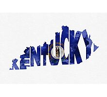Kentucky Typographic Map Flag Photographic Print