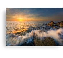 Sunrise and breaking waves at Cala del Morro Blanc Canvas Print